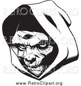 Clipart of a Grim Reaper Head with a Hood by Lawrence Christmas Illustration
