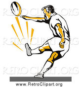 Clipart of a Kicking Retro Rugby Football Player by Patrimonio