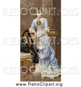 Clipart of a Lady Resting Her Arms on a Chair and Looking off to the Right, Circa 1870 by OldPixels