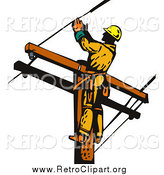 Clipart of a Lineman Worker on a Pole by Patrimonio