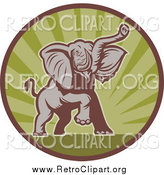 Clipart of a Mad Elephant Charging in a Green Ray and Brown Circle by Patrimonio