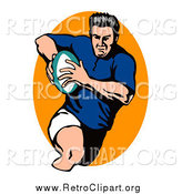 Clipart of a Male Retro Rugby Football Player by Patrimonio