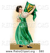 Clipart of a Patriotic Irish Lady Wearing a Green Dress, Holding an Irish Flag, Circa 1907 by OldPixels