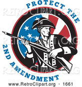 Clipart of a Protect the 2nd Amendment Text with a Revolutionary War Soldier Holding a Rifle over an American Flag by Patrimonio