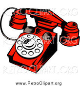 Clipart of a Red Retro Desk Telephone by Patrimonio