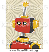 Clipart of a Red Robot over a Tan Burst by Mheld