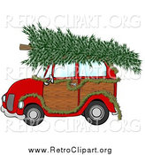 Clipart of a Red Woody Car Draped with a Garland and a Christmas Tree on the Roof by Djart