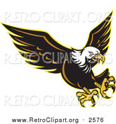 Clipart of a Retro Attacking Bald Eagle by Patrimonio