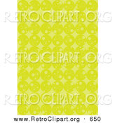 Clipart of a Retro Background of Rows of Lime Green Circles and Diamonds by Suzib_100