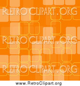 Clipart of a Retro Background with Faded Orange Squares and Yellow Outlines by KJ Pargeter