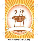 Clipart of a Retro Bbq Label with a Blank Banner over Orange by Mheld