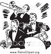 Clipart of a Retro Black and White Band Playing a Trumpet, Saxophone and Drums by BestVector