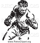 Clipart of a Retro Black and White Boxer Fighter by BestVector