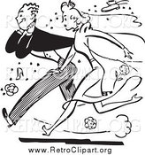 January 29th, 2014: Clipart of a Retro Black and White Bride and Groom Running Through Rice by BestVector