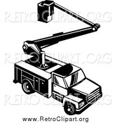 Clipart of a Retro Black and White Bucket Utility Truck from Above by Patrimonio