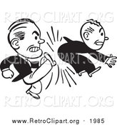 Clipart of a Retro Black and White Business Man Kicking Another in the Butt by BestVector