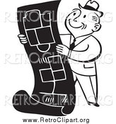 Clipart of a Retro Black and White Business Man Reviewing Blueprints by BestVector