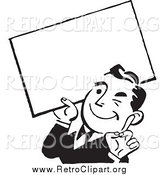 Clipart of a Retro Black and White Business Man Winking and Holding a Blank Sign by BestVector