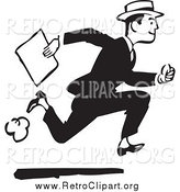 Clipart of a Retro Black and White Businessman Running with a Document by BestVector