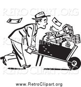 Clipart of a Retro Black and White Businessman with a Wheel Barrow of Cash to the Right by BestVector