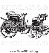 Clipart of a Retro Black and White Car by BestVector