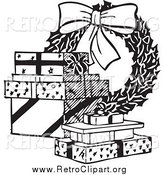 Clipart of a Retro Black and White Christmas Wreath and Gifts by BestVector