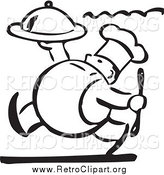 Clipart of a Retro Black and White Chubby Chef Carrying a Platter by BestVector