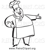 Clipart of a Retro Black and White Chubby Male Chef Presenting by BestVector