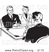 Clipart of a Retro Black and White Couple Discussing a Loan with an Officer by BestVector