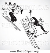 Clipart of a Retro Black and White Couple Skiing Downhill, over Gray Shading by BestVector