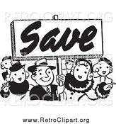 Clipart of a Retro Black and White Crowd Holding a Save Sign by BestVector