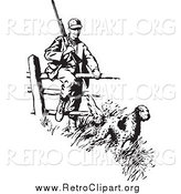 Clipart of a Retro Black and White Dog Leading a Hunter over a Fence by BestVector