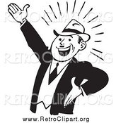 Clipart of a Retro Black and White Enthusiastic Businessman Gesturing up Left by BestVector