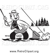 Clipart of a Retro Black and White Fisherman Wading and Trying to Get His Fish in a Net by BestVector