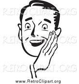 Clipart of a Retro Black and White Guy Holding His Hand Around His Mouth by BestVector