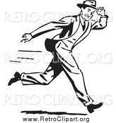 Clipart of a Retro Black and White Guy Holding onto His Hat While Running by BestVector