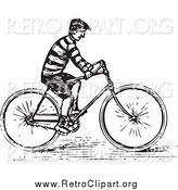Clipart of a Retro Black and White Guy Riding a Bike by BestVector