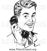 Clipart of a Retro Black and White Handsome Businessman Chatting on a Phone by BestVector