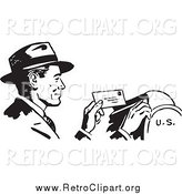 Clipart of a Retro Black and White Happy Businessman Dropping Mail in a Box by BestVector