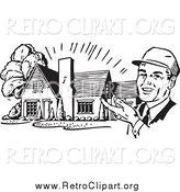 Clipart of a Retro Black and White Happy Male Architect Presenting a House by BestVector