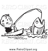 Clipart of a Retro Black and White Happy Man Catching a Giant Fish by BestVector