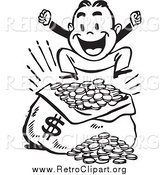 Clipart of a Retro Black and White Happy Man Jumping over a Sack of Money by BestVector