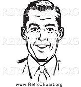 Clipart of a Retro Black and White Happy Man Smiling by BestVector