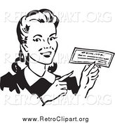 Clipart of a Retro Black and White Happy Woman Holding a Check by BestVector