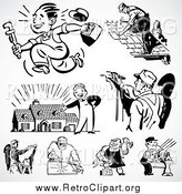 Clipart of a Retro Black and White Industrial Workers by BestVector