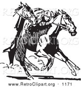 Clipart of a Retro Black and White Jockey and Racing Horses by BestVector