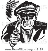 Clipart of a Retro Black and White Male Criminal Pointing a Gun by BestVector