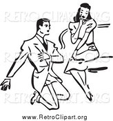 Clipart of a Retro Black and White Man Kneeling and Proposing to a Surprised Woman by BestVector