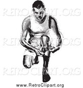 Clipart of a Retro Black and White Man Kneeling to Put on a Sock by BestVector