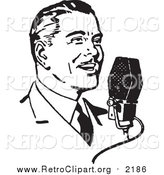 Clipart of a Retro Black and White Man Talking into a Microphone by BestVector